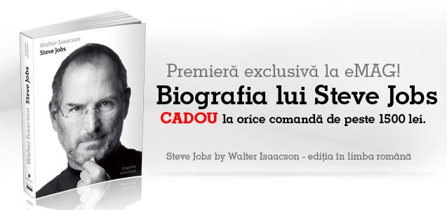 Cadou biografia lui Steve Jobs la orice comandă de peste 1500 de lei